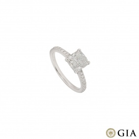 White Gold Cushion Cut Diamond Ring 1.81ct F/VS2